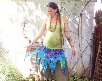 Clothed in Tatters Pixie Skirt ~ Tie Dye Fairy ~ Shirred Stretchy Waistband ~ Festival ~ Tour ~ 100% ecofriendly Cotton India Gauze Fabric