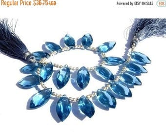 50% Off Sale 1/2 Strand - Extremely Beautiful AAA London Blue Quartz Faceted Marquise Briolettes Size 16x8mm approx Finest Quality Wholesale