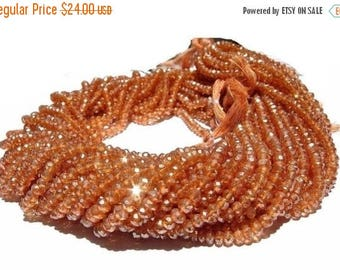 50% Off Sale AAA Champagne quartz micro faceted rondelles Size 3.5mm length 14 inches.