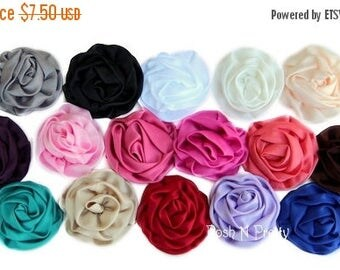 20% OFF EXP 06/30 5 Pcs Soft Gathered Matte Satin Parisian Rose. Flat back- 3 inches- PICK Colors