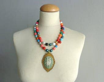 Colorful bib statement necklace, colorful cameo necklace