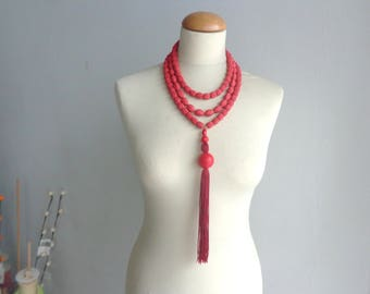 red necklace, tassel necklace, Statement necklace, longer style multistrand