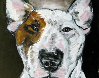 20 % off storewide print- bull terrier dog, bull terrier angle, angel art, angel print, bull terrier print, dog art, dog print,modern dog ar