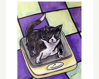 20 % off storewide Cat On a Diet Animal Picture Art Print