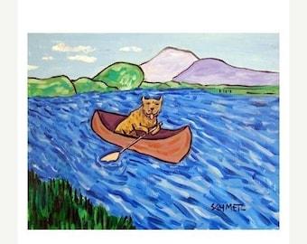20% off storewide Pit Bull Terrier Riding a Canoe Dog Art Print 11x14 JSCHMETZ modern abstract folk pop art