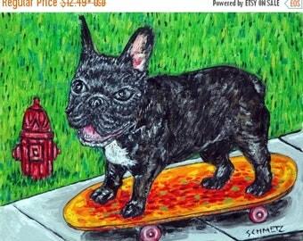 20% off storewide french bulldog dog -art PRINT-  - modern pop art, dog art, skateboarding , dog, dog art, dog print, french bulldog print