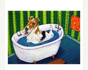 20% off Fox Terrier Taking a Bath Dog Art Print