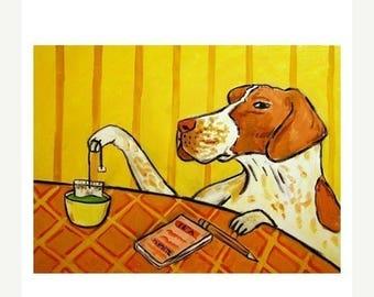 Pointer Steeping Tea Dog Art Print