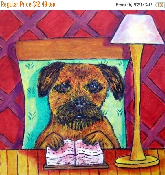SALE 20% off all items Border Terrier Reading a Book Dog Art TIle Coaster