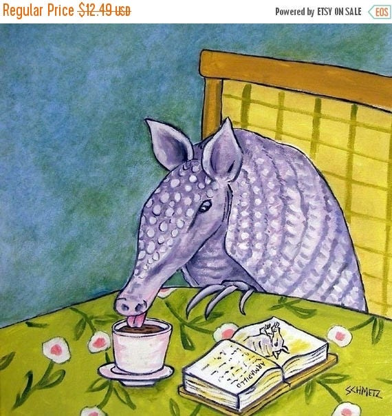 SALE 20% off all items Armadillo at the Coffee Shop Animal Art Tile