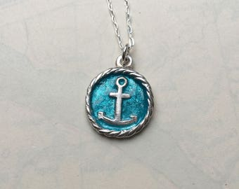 Silver Anchor Pendant with Aqua Enamel