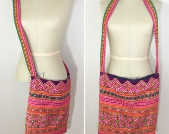 90s Pink Orange Green Ribbon Hippie Crossbody Tote Bag Purse, Large Size