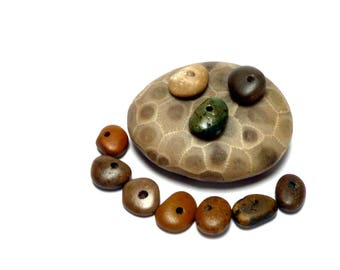 Little Round Donut Beach Stones FOREST Natural Stone Wheels River Rock Cairn Stacks Nature Preserve Burnished Browns Greens