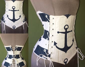 Special for PFP ANCHORS AWAY Blue and White Stripe Anchor Steel Boned Under-Bust Triple Tie Corset by LoriAnn Costume Designs - Custom Size
