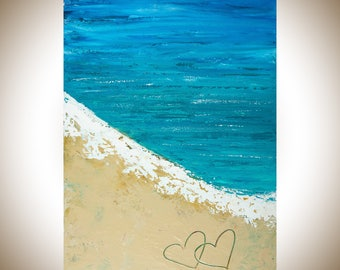 """Beach art seascape painting Turquoise blue wall art Original artwork gift for couple shabby chic """"Life On Beach"""" by qiqigallery"""