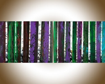 Abstract painting original artwork Birch tree painting on canvas large wall art by qiqigallery