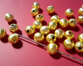 Brushed Gold Beads | Gold Round Beads | 6mm Round Brushed Gold Beads | Brushed Bright Gold Metal Beads MB1130 F17