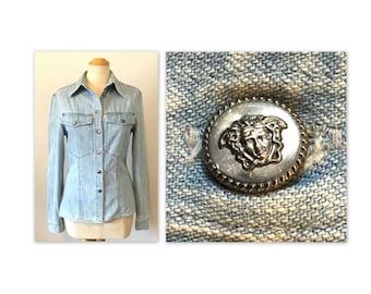 Vintage 90s Jean Shirt Versace Jeans Couture S Medusa Rivet Buttons