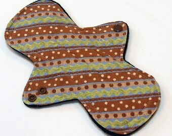 "9"" Reusable Cloth Menstrual pad OVERNIGHT flow -bamboo/cotton core - Windpro - cotton flannel top - Earthen Stripes"