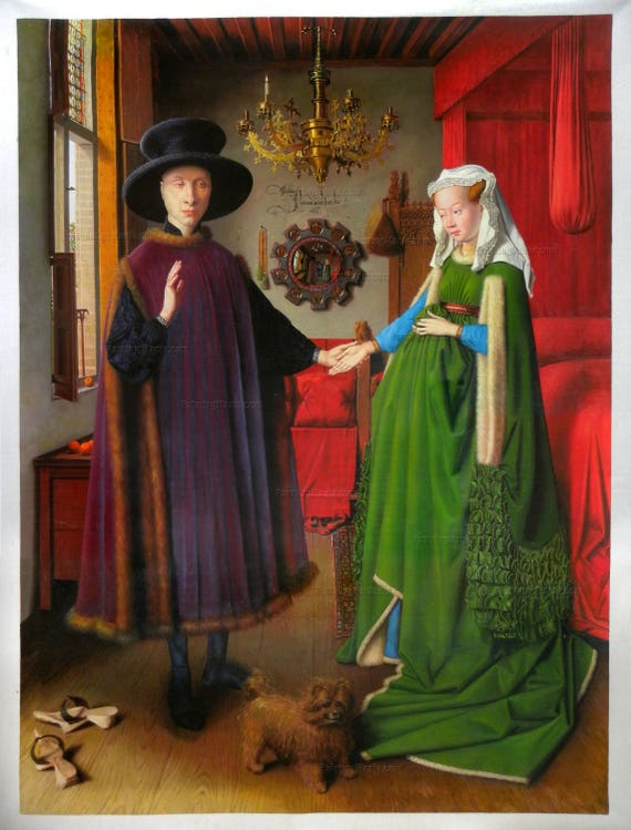 the arnolfini wedding portrait The arnolfini portrait -double wedding portrait by 5by5collective is printed with premium inks for brilliant color and then hand-stretched over museum quality stretcher bars 60-day money.