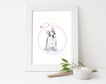 Floral Boston Terrier Dog/Art PRINT/Watercolor Painting Print/Dog Wall Art/ Animal Home Decor/Flowers Rose/Gift for her/8x10 print/5x7/11x14