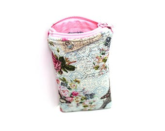 Tall Zippered Pouch, tampon case, small glasses case, Paris and Roses in Blue and Pink