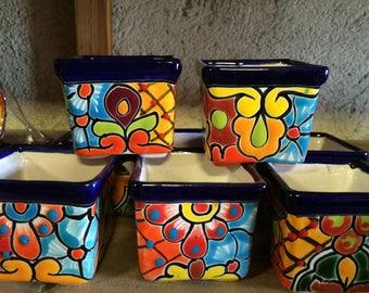 Mini Pottery (7 pieces) 2x2 inches party favor succulent vase pot Cactus mazeta destination wedding Talavera tile mexican bridal shower