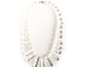 Clearance Sale Glass Icicle clear crystal statement necklace