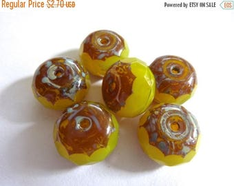 50% OFF Czech Yellow Opal with Picasso 9x14mm Faceted Fire Polished Glass Rondelle Beads (6)