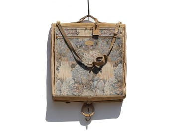 Vintage Canvas & suede Folding Garment Travel Suitcase Bag