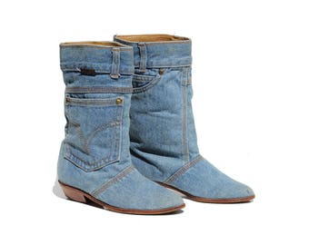 Vintage Blue Denim Pull on Boots / size 7.5