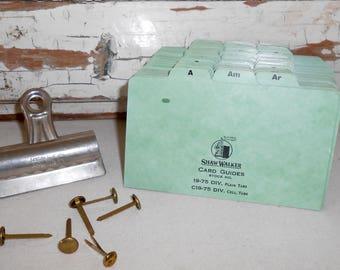 Vintage Shaw-Walker Index Cards, Vintage File Cards, Vintage Office, Tabbed Dividers, Alphabetical Divider Cards