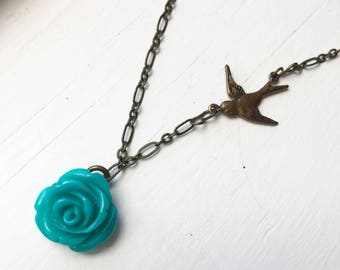 Antique Brass Turquoise Rose Necklace