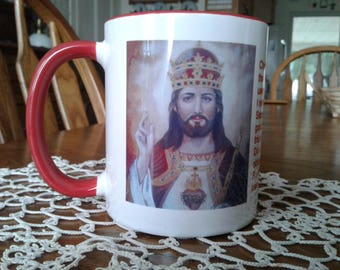 Christ Jesus the King Mug READY TO SHIP Taken from my Origional Artwork, Customize Your Own Saint Mug With or Without Prayer Great Gift Idea