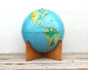 1960s Large Globe on Wooden Stand