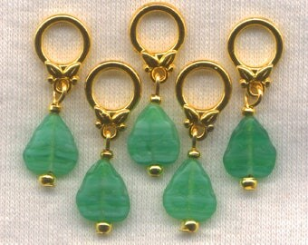 Leaves Knitting Stitch Markers Green Pressed Glass Leaf Lace Set of 5/SM70E