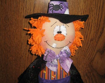 Primitive Handcrafted Halloween Witch Ornie Doll Shelf Sitter Ornies Tuck Bowl Filler