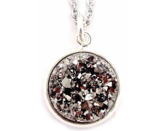 """Gun Metal Gray Faux Druzy Necklace 18"""" Stainless Steel Chain"""