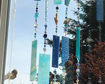 Blue Stained Glass Sun Catcher, Turquoise Suncatcher, Glass Wind Chime, Hanging Mobile, Glass Windchime, Stained Glass Chimes, 8668