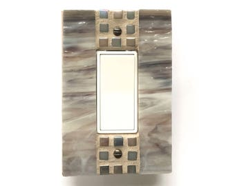 Mosaic Switch Plate, Decorative Switch Plates, Light Switch Covers, Glass Switchplates, Stained Glass Lightswitch, Outlet Cover, Rocker 8703