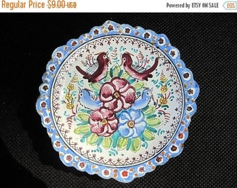 OnSale Hand Painted Enamel Tin Saucer - Blue Flowers and Birds