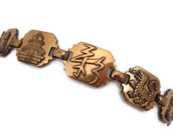 Asian Copper Bracelet - Mid Century Modern Copper Jewelry Link Bracelet Japan Souvenir Style