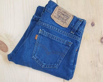 Vintage Kids Jeans  // Vtg 70s 80s Child Sized LEVI'S Made in the USA Distressed Slim Fit Jeans