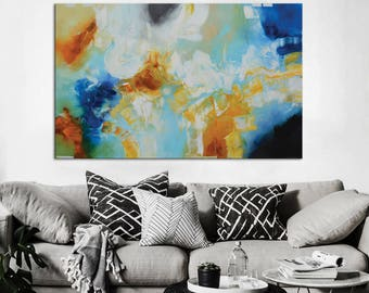 Blue Orange Modern Painting On Canvas, Blue Abstract Art, Contemporary Aqua  Blue Painting , Part 90