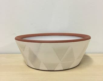 Cereal Bowl, triangle, Roth Ayers Design, Terra cotta, white, handmade, mid century modern, mid mod, wheel thrown pottery, geometric