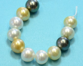 Multi Color White Golden Tahitian South Sea Pearl Beads 5 Inch Strand (11)