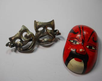 Pair of Vintage Mask Pins Brooches Japanese Theatre Kabuki Masks Comedy Tragedy Silver Handmade Unique Jewelry Brooch Japan Actor