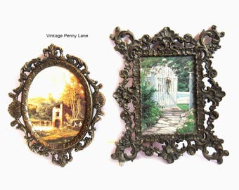 Vintage Italian Art Prints, Lot of 2, Fancy Brass Frames