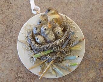 Marjolein Bastin Ornament  - Raising a Family - Marjolein Bastin - Baby Bird Nest - 1995