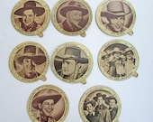 Vintage Cowboy Movie Stars Dixie Cup Lids, 8  1940's Vintage Lids, Maloof Ice Cream, New London, CT, Roy Rogers, William Boyd, Buck Jones